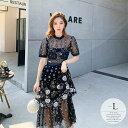 ドレス ワンピース ゴージャス 半袖 花柄 透け感 シアー素材 珍しい かぶらない チュールブラック ホワイトお呼ばれ …