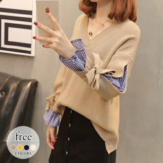 Others that heaviness warmth worth adult of superior grade is lovely mature in sweater tops knit tunic cut-and-sew black and white black checked pattern layering appearance type cover looking thinner 30s 40s 50s big size lady's fall and winter and /[pak1