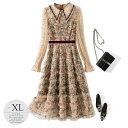 ドレス パーティドレス ワンピース 総柄 花柄 襟付き クラシカル レトロ風 ウエストマーク きちんと感 ベージュ ライ…
