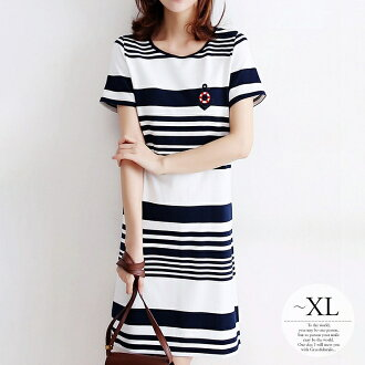 It is sea beach outing GW neatness thin vanity pool tunic mix-and-match /[tao09] on Shin pull minimal holiday in the summer natural size mother whom dress Lady's has a big きれいめ navy white horizontal stripe Malin on a pretty casual clothes holiday in a da
