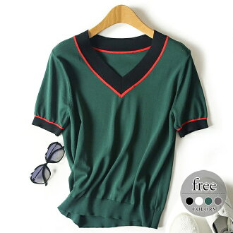 Fitting casual clothes office female office worker /[tao51] where tops T-shirt blouse tunic Lady's big size mother summer きれいめ black white green gray short-sleeved summer knit V neck Shin pull line small face thin vanity plain fabric is pretty