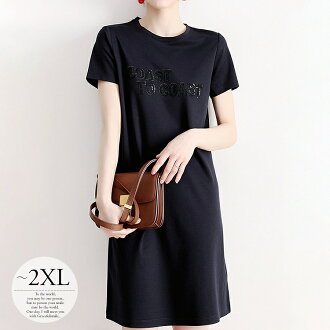 It is street minimal embroidery Pau tea /[tas81] on the black holiday when a mini is pretty in dress long dress Lady's big size mother summer きれいめ dental plaque T-shirt casual short-sleeved casual natural Shin pull plain fabric one point knee