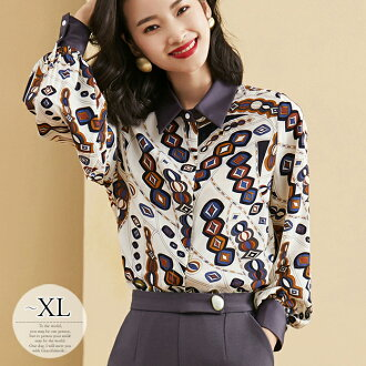 Date outing of superior grade Lady's /[tbw08] where trip beautiful woman きれいめ where a celebrity mother daily figure cover dinner party is lovely mature for 50 generations for 40 generations in 30s for shirt blouse whole pattern nostalgic long sleeves top