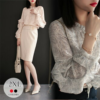 It is thin vanity daily /[tbw75] for a shirt blouse whole pattern dot waterdrop dot pattern frill collar string tops long sleeves red black event mother elegant きれいめ mom invite trip dinner party casual looking thinner date beautiful woman natural lovely