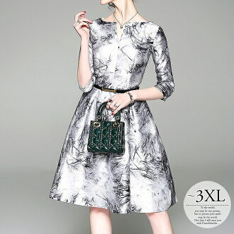 Size figure cover Lady's knee length mi-mollet length floral design A-line et al. whom party dress party dress wedding ceremony one-piece dress formal dress invite second party second society four circle banquet mother fashion clothes have a big and /[wa