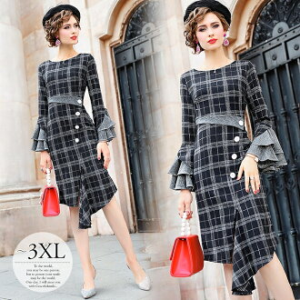 Banquet clothes others for party dress Lady's big size tight checked pattern long sleeves adult mother mom dress invite one-piece dress formal dress figure cover graduating students' party to honor teachers looking thinner concert presentation graduating