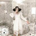 ドレス ワンピース バルーンスリーブ フレア 無地 クラシカル キュート バックリボン ブラック ホワイト 上品 美人 デ…