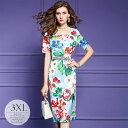 ドレス パーティードレス ロングドレス ワンピース タイトワンピ ラウンドネック 半袖 華やか 花柄 総柄プリント ゴー…