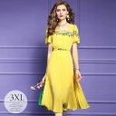 ドレス パーティードレス ロングドレス ワンピース Aラインワンピ プリーツスカート スクエアネック 半袖 華やか 爽や…