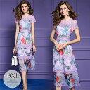 ドレス パーティードレス ロングドレス ワンピース ティアードワンピ レース 丸首 半袖 華やか 花柄 透け感 シースル…