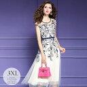 ドレス パーティードレス ロングドレス ワンピース シフォンワンピ Aラインワンピ 花柄 刺繍 オーガンジー 華やか サ…