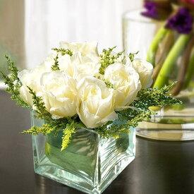 造花 花瓶 造花付き花瓶 インテリア ブーケ おしゃれ 一輪挿し 大きな ガラス 北欧 大きい 白 花束 引越し祝い 結婚祝い 卒業祝い 入学祝い ギフト 彼女 誕生日 プレゼント 出産祝い 退職祝い 合格祝い 還暦祝い お祝い/[aag81]