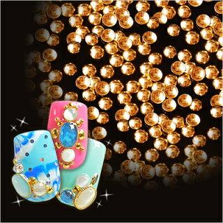 【10P17Jan14】【メール便対象商品】美しい輝きと形状!ぷっくりドーム型スタッズネイルの必需品高品質メタルスタッズゴールデンゴールド50粒