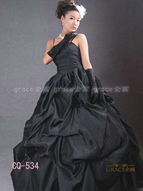 【サイズオーダー】カラードレス ウェディングドレス ブラック 5号/7号/9号/11号/13号/15号/17号/19号/21号/23号/25号 プリンセスライン 結婚式 花嫁衣裳 海外挙式 二次会 ロングドレス(or-cq534)