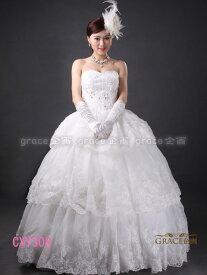 【サイズオーダー】ウェディングドレス オフホワイト 5号/7号/9号/11号/13号/15号/17号/19号/21号/23号/25号 プリンセスライン 結婚式 花嫁衣裳 海外挙式 二次会 ロングドレス(or-cxy308)