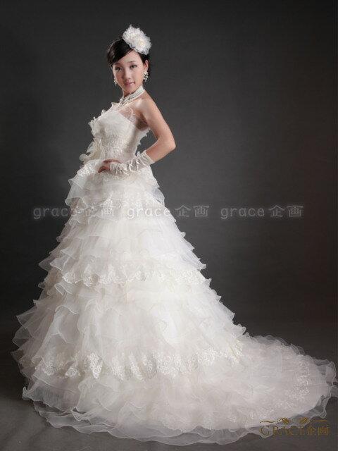 【サイズオーダー】ウェディングドレス オフホワイト 5号/7号/9号/11号/13号/15号/17号/19号/21号/23号/25号 スレンダーライン Aライン フリル トレーン 結婚式 花嫁衣裳 海外挙式 二次会 ロングドレス(or-cxy557)