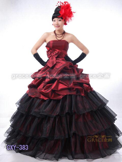 ウエディングドレス カラードレス (5号-7号-9号-13号-15号/S-M-Lサイズ)ワインレッド赤×ブラック黒 バイカラー プリンセスライン レースアップサイズ調整可能 二次会ドレス 演奏会用ドレス 結婚式花嫁二次会ロングドレス(ZCXY383-T)