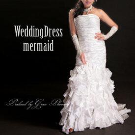 【サイズオーダー】ウエディングドレス オフホワイト 5号/7号/9号/11号/13号/15号/17号/19号/21号/23号/25号 マーメイドライン 結婚式 二次会 海外挙式 花嫁 ロングドレス(or-cxy550)