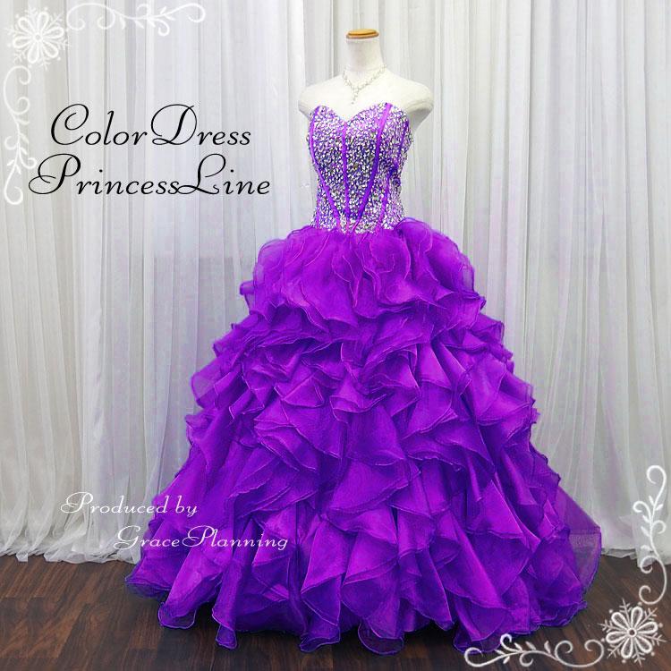 ウエディングドレス カラードレス 大きいサイズ パープル 紫 プリンセスライン 結婚式 二次会 花嫁衣裳 ロングドレス ハロウィンパーティ 舞台衣装 ステージ衣装 イベント 15号 17号 19号 LL-3L-4Lサイズ (13030m-t)