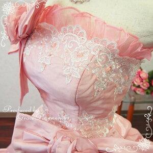カラードレス☆プリンセスライン《9-11号》パウダーピンクレースアップサイズ調整可能ウェディングドレスロングドレス演奏会