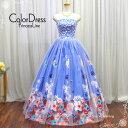 演奏会用ドレス ロングドレス プリンセスライン カラードレス ウエディングドレス(5号 7号 9号 11号/Sサイズ Mサイズ Lサイズ/ブルー系…