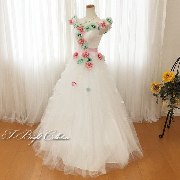 ウエディングドレス ロングドレス 結婚式 二次会 フラワー カラードレス (7号 9号 11号/Sサイズ Mサイズ) ミントグリーン×ピンク コサージュ オフショルダー (19202ow-t)