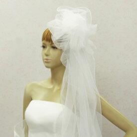 e385ade1f92eb ウェディングヘッドドレス ふわふわチュールベール75cm(オフホワイト コーム付き)ウエディングヴェール
