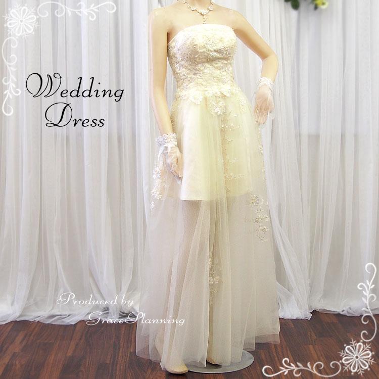 【在庫処分】シースルーのチュールスカートウエディングミニドレス 《7-9号/9-11号》アイボリーウエディングドレス シースルースカート 背中編み上げ調整可能でゴールド&ホワイト刺繍でキュートに仕上げたカラーミニドレス(51525iv-T)