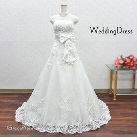 ウェディングドレス Aライン 結婚式 二次会 花嫁衣裳 お花モチーフの上品な刺繍 ロングトレーン(5号-7号-9号-11号-13号/S-M-Lサイズ) 白ドレス レース ウエディングドレス オフホワイト リボン(F-0010044-T)