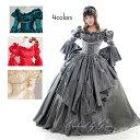 カラードレス 中世貴族風ドレス お姫様ドレス プリンセスライン(7号 9号 11号 13号/Mサイズ Lサイズ/グレー レッド 赤…