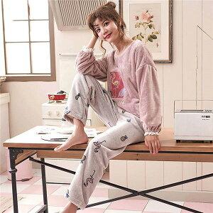 L ピンク もこもこ パジャマ かわいい ルームウェア レディース ナイトウェア 上下セット 冬 長袖部屋着 あったか 寝巻き 裏起毛 お揃いペア dh478g4c6kc /代引き・返品・交換・同梱不可