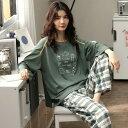 パジャマ 部屋着 寝間着 上下セット ルームウェア 春秋 レディースファッション 長袖 綿100% 大きいサイズ セットアップ ロングパンツ おしゃれ かわいい 日常可dh028c7c7c7/代引不可