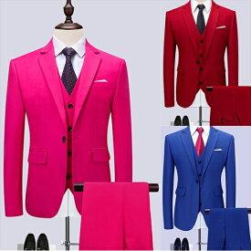 【サイズ有M~6XL】1ボタンスリムスーツ フォーマル スーツ ビジネススーツ シングル メンズスーツ 3カラー 紳士服 男性用背広 就職活動suit 3点セット スーツ メンズ 大きいサイズ おしゃれスーツ 春 夏 細身 結婚式 オシャレdg051g4g4x2/代引不可