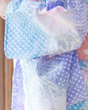 有松絞り浴衣女性浴衣帯下駄セットレトロ浴衣ブルー薄紫パープルピンク朝顔花柄