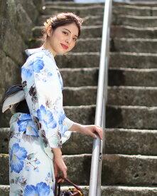 浴衣 レディース 3点セット(浴衣/帯/下駄) 青 白 黒 椿 つばき 花 レトロ レトロモダン フリーサイズ