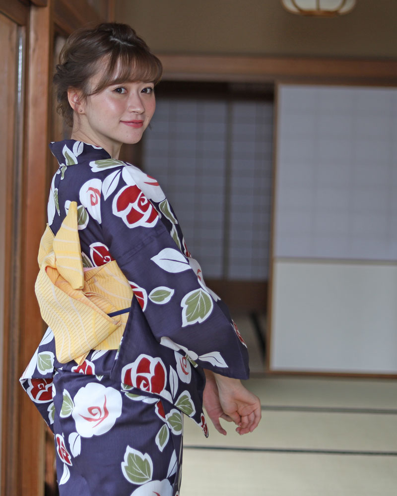 浴衣 レディース 3点セット(浴衣/帯/下駄) 紺 赤 黄色 椿 つばき レトロ レトロモダン フリーサイズ