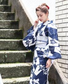 浴衣2点セット(浴衣/帯) 藍 紺 グレー 百合 ゆり レトロモダン レトロ フリーサイズ