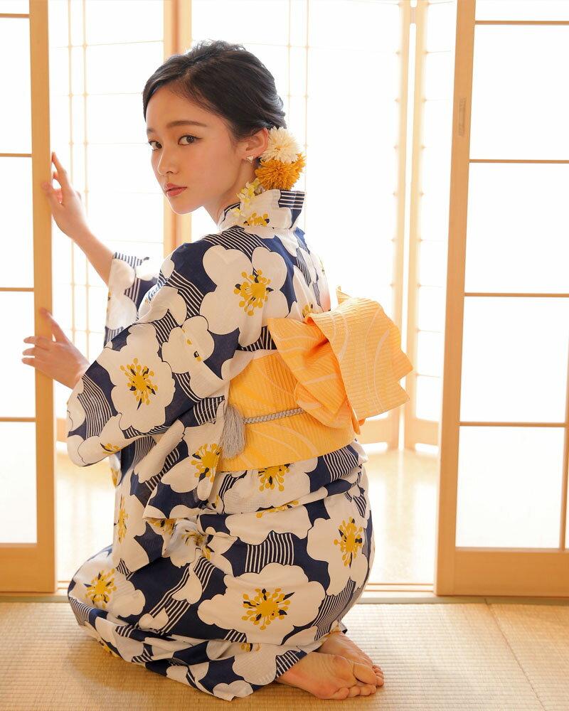 週末20%オフクーポン 浴衣 3点セット(浴衣/帯/下駄) 青 黄色 さくら 桜 縞 ストライプ レトロ 可愛い フリーサイズ 【送料無料】
