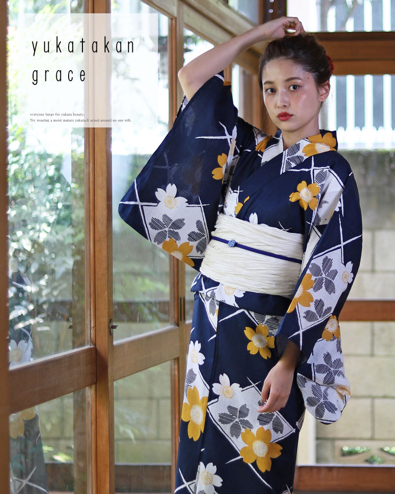 浴衣 レディース 3点セット(浴衣/帯/下駄) 紺 白 ベージュ 黄色 桜 さくら レトロモダン レトロ フリーサイズ