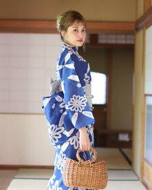 【送料無料】 浴衣 セット 女性浴衣  帯 下駄 セット レトロ 浴衣 青 ブルー 白 ホワイト グレー 菊 花柄