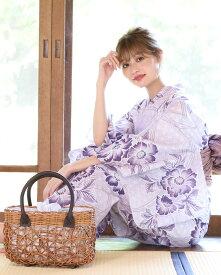 浴衣 レディース 3点セット(浴衣/帯/下駄) 薄紫 パープル ラベンダー 牡丹 花柄