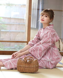 浴衣 レディース 3点セット(浴衣/帯/下駄) 薄紅 ピンク ベージュ 白 ホワイト 縞 ストライプ 花柄
