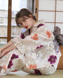 浴衣 レディース 3点セット(浴衣/帯/下駄) 白 ホワイト ベージュ 紫 パープル グレー 椿 花柄