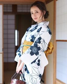浴衣2点セット(浴衣/帯) 紺 白 黄色 鉄線 麻の葉 モノトーン