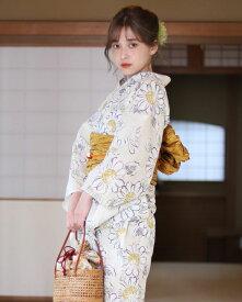 【送料無料】 浴衣 セット 女性浴衣 帯 下駄 ベージュ 黄色 イエロー ひまわり マーガレット 花柄