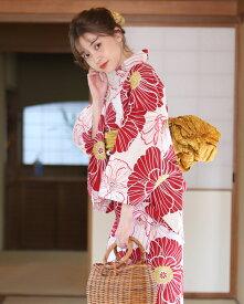 浴衣 レディース浴衣 3点セット(浴衣/帯/下駄) 赤 レッド 白 ホワイト 黄色 イエロー アネモネ 花柄
