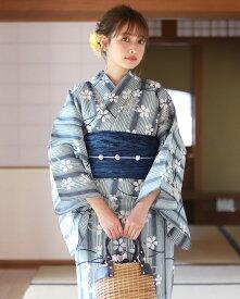 浴衣 レディース 3点セット(浴衣/帯/下駄) 青 ブルー グレー 紺 ネイビー 桜 さくら 花柄