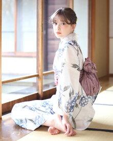 浴衣 レディース 3点セット(浴衣/帯/下駄) 白 ホワイト ブルー カーキ パープル 牡丹 花柄