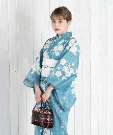 浴衣 レディース 3点セット(浴衣/帯/下駄) 青 ブルー 白 ホワイト 牡丹 花柄