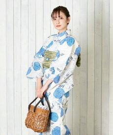 浴衣 レディース 3点セット(浴衣/帯/下駄) 青 ブルー 波紋 萩